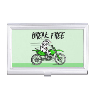 Cow Riding A Motorcyle Business Card Holder