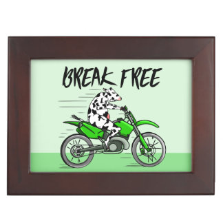 Cow Riding A Motorcyle Keepsake Box
