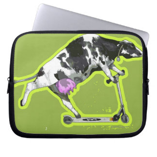 Cow Riding a Scooter Computer Sleeve