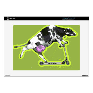Cow Riding a Scooter Laptop Decal