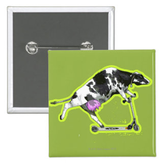 Cow Riding a Scooter Pinback Button