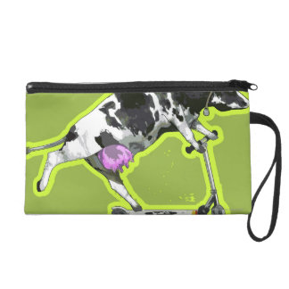 Cow Riding a Scooter Wristlet