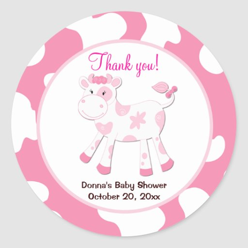 Cow Round Favor Sticker  - Pink