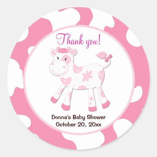 Cow Round Favor Sticker  - Pink
