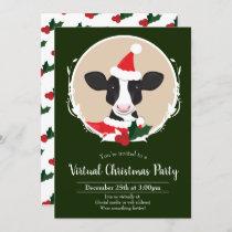 Cow Santa Green White Virtual Christmas Party Invitation