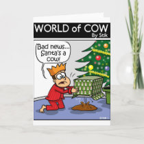 Cow Santa Holiday Card