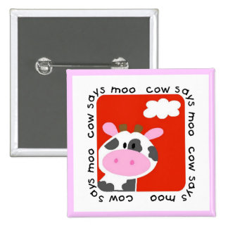 Cow Says Moo Tshirts and Gifts Button