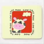 Cow Says Moo Tshirts and Gifts Mouse Pad