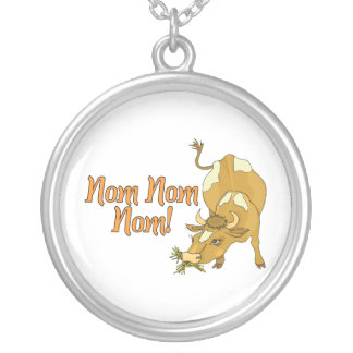 Cow Says Nom Nom Nom Silver Plated Necklace