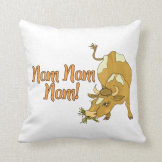 Cow Says Nom Nom Nom Throw Pillow