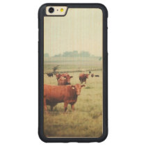 cow-scape carved maple iPhone 6 plus bumper case