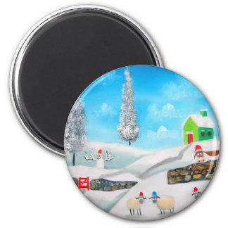 COW SHEEP folk winter SNOW SCENE painting G Bruce 2 Inch Round Magnet