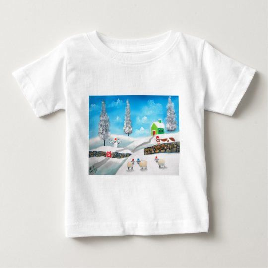 COW SHEEP folk winter SNOW SCENE painting G Bruce Baby T-Shirt