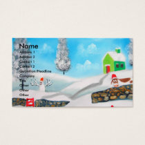 COW SHEEP folk winter SNOW SCENE painting G Bruce Business Card