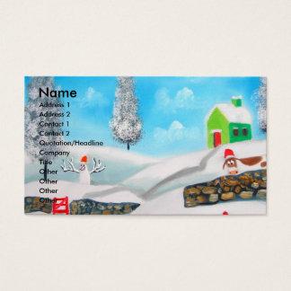 COW SHEEP folk winter SNOW SCENE painting G Bruce Business Card