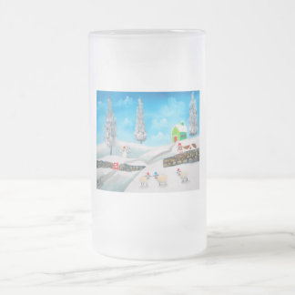 COW SHEEP folk winter SNOW SCENE painting G Bruce Frosted Glass Beer Mug