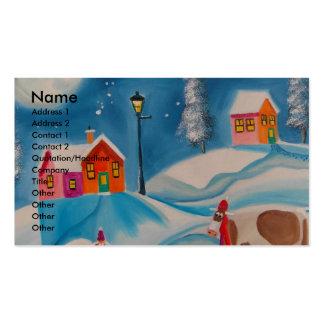 cow sheep winter snow scene folk art business card templates