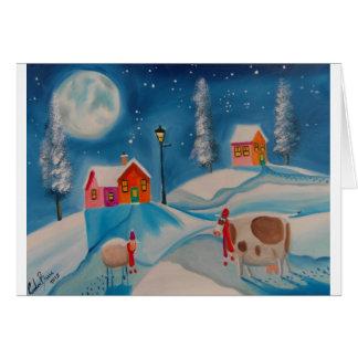 cow sheep winter snow scene folk art cards