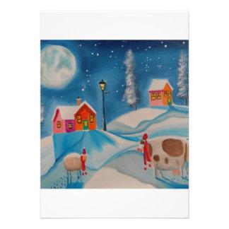 cow sheep winter snow scene folk art custom announcements