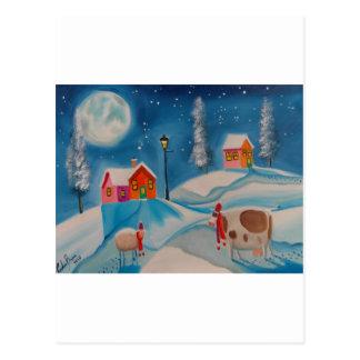 cow sheep winter snow scene folk art postcards