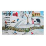 cow sheep winter snow scene naive folk art business card