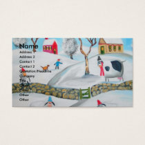 cow sheep winter snow scene naive folk art business card