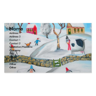 cow sheep winter snow scene naive folk art business card template