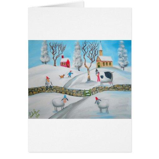 cow sheep winter snow scene naive folk art greeting card