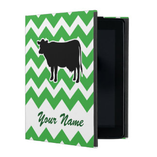 Cow Silhouette with Green Chevron Pattern iPad Cover