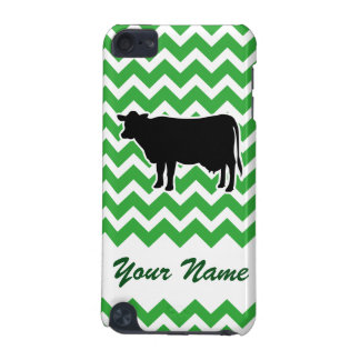 Cow Silhouette with Green Chevron Pattern iPod Touch (5th Generation) Covers