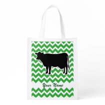 Cow Silhouette with Green Chevron Pattern Reusable Grocery Bag