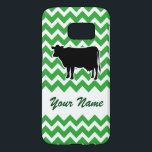 "Cow Silhouette with Green Chevron Pattern Samsung Galaxy S7 Case<br><div class=""desc"">This stylish green and white phone case features the black silhouette of a moo cow!  The background features a repeating green and white zig-zag chevron pattern with space to add your own name or short message in a green script font!  Open the full editor to change the chevron color!</div>"