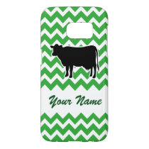 Cow Silhouette with Green Chevron Pattern Samsung Galaxy S7 Case