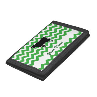 Cow Silhouette with Green Chevron Pattern Tri-fold Wallets