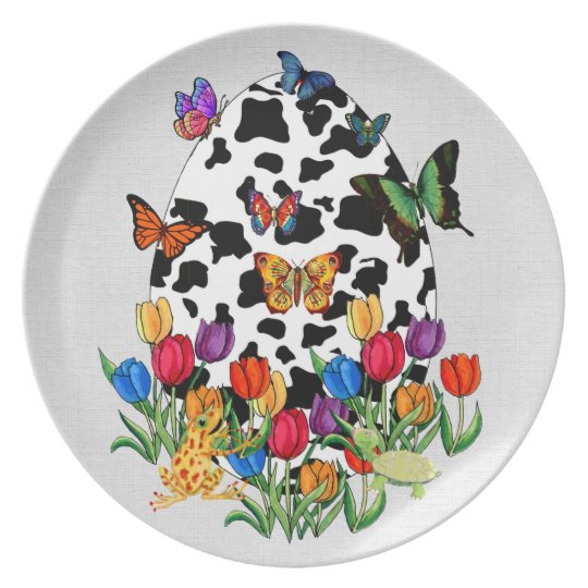 Cow Skin Easter Egg Dinner Plate