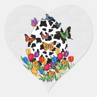 Cow Skin Easter Egg Heart Sticker