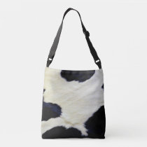 Cow Skin Fur Texture Black and White Customize Crossbody Bag