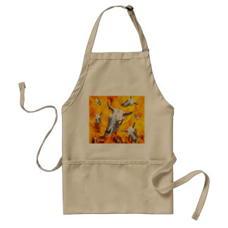 Cow skull and fire adult apron