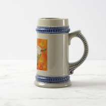 Cow skull and fire beer stein