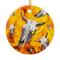 Cow skull and fire ceramic ornament