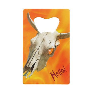 Halloween Themed Cow skull and fire credit card bottle opener