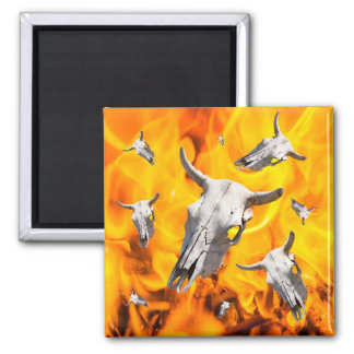 Cow skull and fire magnet