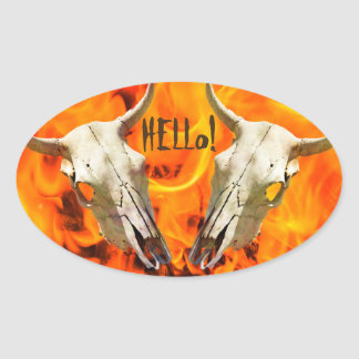 Cow skull and fire oval sticker