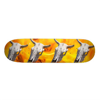 Cow skull and fire skateboard