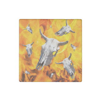 Cow skull and fire stone magnet