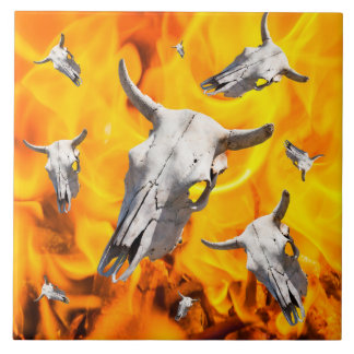 Cow skull and fire tile