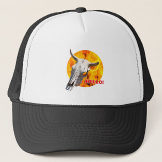Cow skull and fire trucker hat