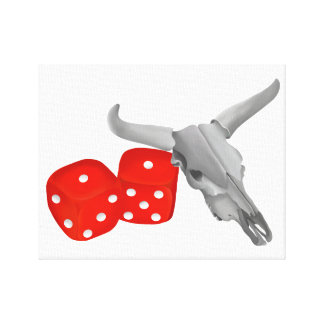 Cow Skull and Gambers Craps Dice Canvas Print