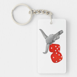 Cow Skull and Gambers Craps Dice Double-Sided Rectangular Acrylic Keychain