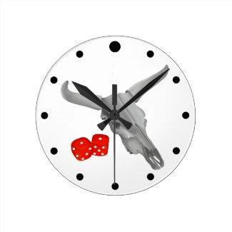 Cow Skull and Gambers Craps Dice Round Clock